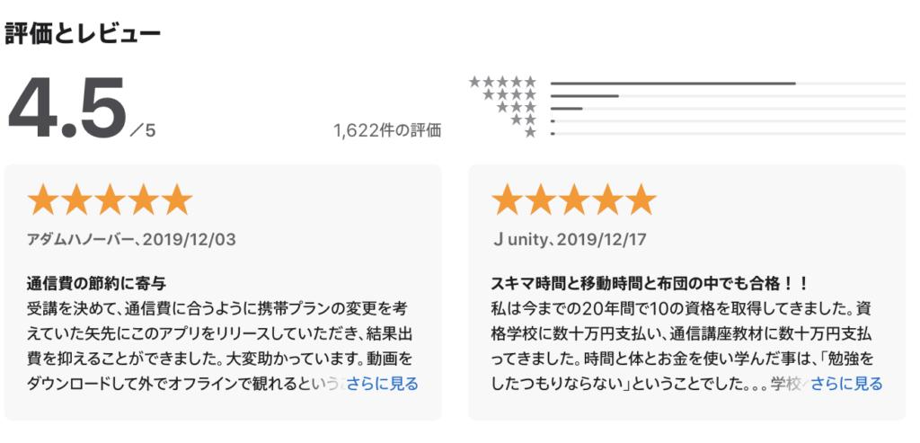 スタディングのアプリ「Studying」のApp storeの評価とレビューの画像