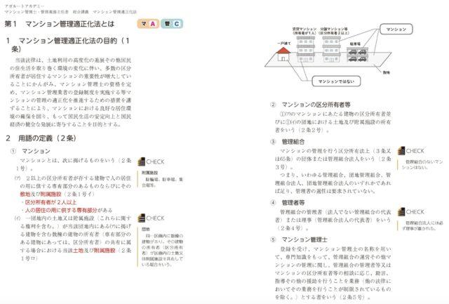 アガルート評判と口コミ「マンション管理士講座」のテキストの画像